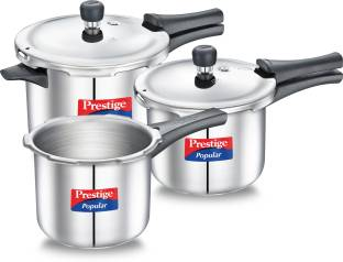 Prestige Popular Stainless Steel Combination Pack 5 L, 3 L, 2 L Induction Bottom Pressure Cooker