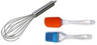 Cosmo Silicone Basting Spatula, Brush and Stainless Steel Whisker - Baking Tools Silicone Basting Spatula, Brush and Stainless Steel Whisker - Combo Pack Multicolor Kitchen Tool Set (Multicolor) Multicolor Kitchen Tool Set