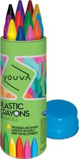 NAVNEET Youva Premium Plastic Crayons Tin- 12 Crayons