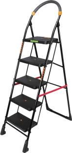 FLIPZON Premium Heavy Foldable Cameo 5 Steps Ladder with Wide Steps & Anti-Skid Shoes - Black Steel La...