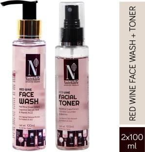 Nutriglow Advanced Organics Combo of 2 Red Wine Face Wash (100ml) & Red Wine Facial Tone (100ml) For Anti Ageing Glowing Skin Skin Purifying
