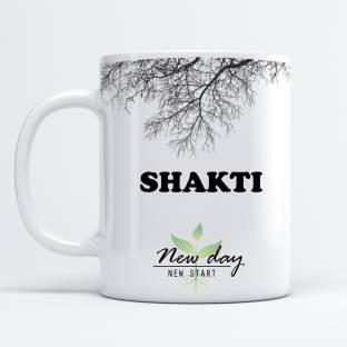 Beautum Shakti Printed New Day New Start White Name Model No:NDNS019621 Ceramic Coffee Mug
