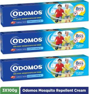 Odomos Non Sticky Mosquito Repellant Cream with Vitamin -E & Almond Oil