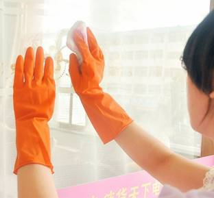 NEW INDIA FIRE TECH Pairs of Reusable Latex Safety Gloves for Dish And Clothes Washing,Home And Kitchen Cleaning, Kitchen, Garden Many Type Of Uses and Sanitation Waterproof Gloves For Men And Women Unisex Or Evrypeople Orange 1 Pair Latex, Rubber  Safety Gloves