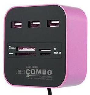 Teratech 3 PORT USB Hub Port HIGH QUALITY ALL IN ONE COMBO CARD READER WITH 3 PORT USB Hub Purple