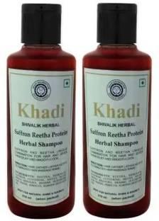 Khadi Herbal Saffron Reetha Protein Shampoo 420 ML PACK OF 2