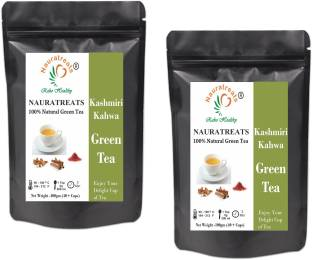 Nauratreats Kashmiri Kahwa Green Tea for Weight Loss Pack of 2 (100gm x2) Spices, Almond, Rose Green Tea Pouch