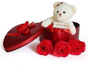 Yashika Love Gift for Girls Heart Shape Love Card and Red Rose Soap Flower Scented Soap Flower Petals with Box & Soft Teddy Bear  - 20 cm