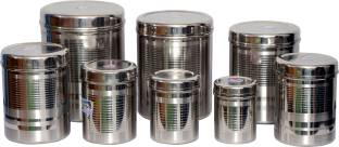 Tactware 8 PCS Of Stainless Steel Kitchen Storage Canister(Dabba)  - 2.5 L, 2.1 L, 1.5 L, 1 L, 0.85 L, 0.65 L, 0.45 L, 0.25 L Steel Grocery Container