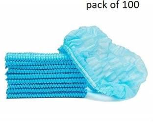 SOBERBIO Pack of 100 Non Woven Disposable Blue Bouffant Surgical Head Cap Surgical Head Cap