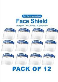 Life of Riley LORFS_12PCS MASK SHIELD PROTECTION Full Safety Face Shield Transparent Whole Face,Anti-Saliva Protective Hat,Reusable Breathable Visor Wind Dust proof Hat Shield with Protective Film Elastic Band Safety Cap