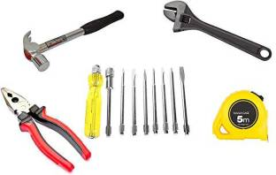 gizmo 8Pc Screwdriver Set, Steel Hammer 1/2 Inch, Combination Plier, Adjustable Wrench & Measuring Tap...