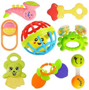 Wishkey Set of 8 Pcs with Various Exciting Toys for New Borns & Infants Rattle Rattle