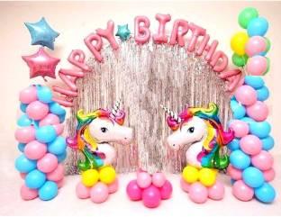 Anayatech unicorn theme happy birthday combo-13 happy birthday foil,2 unicorn balloon , 3 star,2 silver curtain,30 multicolor balloonl(pack of 50)