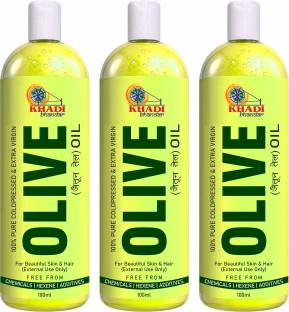 KHADI BHANDAR 100% Organic Olive Oil -For Skin Care & Hair Growth (Pack of 3) Hair Oil