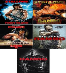 All 5 Parts of Rambo (Rambo: First Blood Part 1 & 2, Rambo 3 & 4, Rambo: Last Blood) dual audio Hindi & English clear HD print clear voice it's burn DATA DVD play only in computer or laptop not in DVD or CD player it's not original without poster