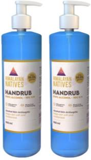 Himalayan Natives 70% v/v Denatured Ethyl Isopropyl Alcohol Rapid Hand Disinfection Proven anti-microbial efficacy in 15 seconds Pack Of 2 Hand Rub Pump Dispenser