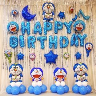 Anayatech happy birthday combo-1 happy birthday foil balloon,2 doreamon foil balloon,1 blue moon foil,2 silver curtain36 blue and white balloon