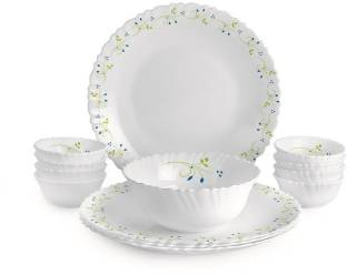 cello Pack of 13 Opalware Dazzle Tropical Lagoon Dinner Set, 13 PC Dinner Set