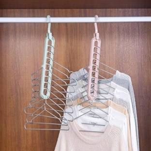 LEEKA pack of 2 hanger Swivel Space Saver Folding Hangers for Clothes Organize ( Set of 2 ) Closet Organizer Closet Organizer