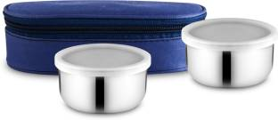 Classic Essentials Stainless Steel Lunch Box set ,350 ml set of 2 2 Containers Lunch Box