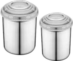Classic Essentials 2 Pieces Canister With White Lid  - 1500 ml, 850 ml Steel Tea Coffee & Sugar Container
