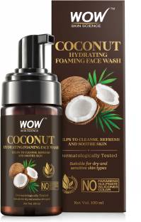 WOW SKIN SCIENCE Coconut Hydrating Foaming  - with Coconut Water - For Cleansing, Soothing Skin - No Parabens, Sulphate, Silicones & Color - 100 ml Face Wash