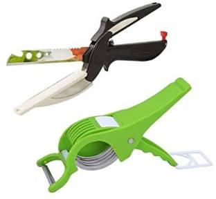 ESAANVIKA Combo Cutter/Peeler & Smart Cutter/Knife/Scissors With Knife Board Vegetable & Fruit Slicer Combo Cutter/Peeler & Smart Cutter/Knife/Scissors With Knife Board Vegetable & Fruit Slicer Multicolor Kitchen Tool Set