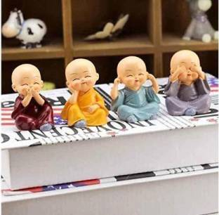 MAYASTER Colourfull Set of 4 Small Baby Monk Decorative Showpiece for Good Luck Home Decor| Office Decor, Festival Decor Decorative Showpiece  -  5.5 cm