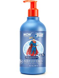 WOW SKIN SCIENCE Kids Body Lotion - SPF 15 - Blue Guardian Superman Edition - No Parabens, Color, Mineral Oil, Silicones & PEG - 300mL