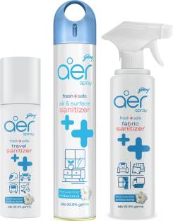 Godrej Aer Fresh + Safe range combo: Air and surface sanitizer, 240ml + Travel sanitizer, 85ml + Fabric sanitizer, 225ml