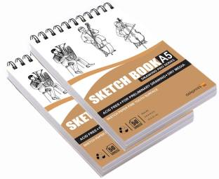 Askprints A5 Sketch book 50 Sheets Set of 2 - 5.8 x 8.3 Inch | Top Spiral-Bound Sketchpad for Artists | Sketching and Drawing Acid Free Paper, for Doodling Sketch Pad