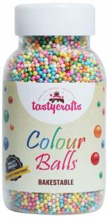 TastyCrafts Bakestable Colour Balls | Edible | Sprinkle Decorations for Cake Décor | Coloured Sugar Confectionery | 100 GM - Multicolor Topping Semi Solid