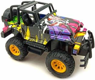 Smartcraft Hip hop Friction Car, Friction Powered Battery Operated Rubicon Hip Hop Metal die cast Jeep Toy with Light and Sound Effects Toy for Kids (Multicolor)