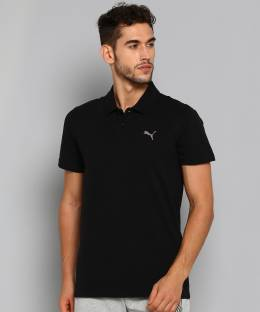 PUMA Solid Men Polo Neck Black T-Shirt