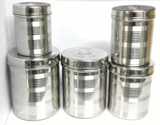 Liolis Satinless Steel dibba 5 pcs - 500 ml to 2kg - Size 5 pcs Set  - 500 ml, 2 L Steel Grocery Container