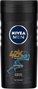 NIVEA MEN 42k Shower Gel, with Silver Ions Technology for Max Freshness - Running & Workout Essentials - 3 in 1 Body Wash for Body, Face & Hair, 250 ml
