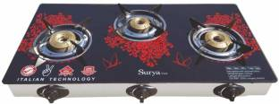 Online SURYA Fast Piezo Auto Ignition Heavy Brass Coated Iron, 3 Burner - Blue Flame - Toughened Cook Top - Stainless Frame Warranty: 6 Months, Red Color Glass, Steel Automatic Gas Stove