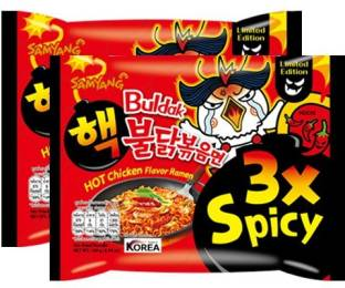 Samyang 3XSPICY Hot Chicken Ramen Flavour -140gm (Pack of 2) (Imported) Instant Noodles Non-vegetarian