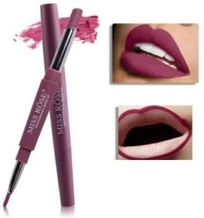 MISS ROSE 2 In 1 Matte Lip Liner Pencil Lipstick Waterproof Long-Lasting Lip Professional Makeup - Pack of 1