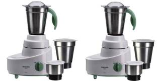 PHILIPS HL1606/03 PACK OF 2 500 Mixer Grinder (6 Jars, WHITE and GREEN)