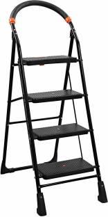 Branco Premium Heavy Foldable Milano 4 Steps Ladder with Wide Steps & Anti-Skid Shoes - Black Steel La...