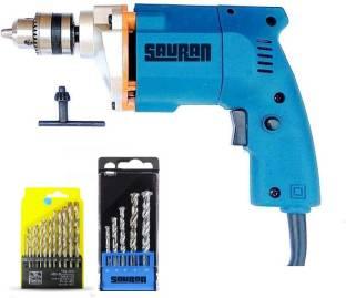 Sauran Bluetec alpha Drill machine with 6 months warranty 10mm Drill With 18pcs Drill Bit Set For Wood,Steel,Walls,Tiles Etc Pistol Grip Drill