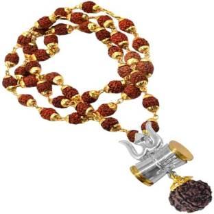 TIRUPATI Deals 100 % Orignal (8MM 36Beads) Jewellery Collection Rudraksha Studded Damru Loard Shiv Sha...