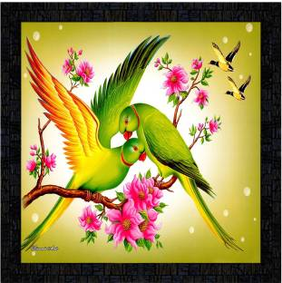 Poster N Frames framed poster of parrot Digital Reprint 14 inch x 14 inch Painting