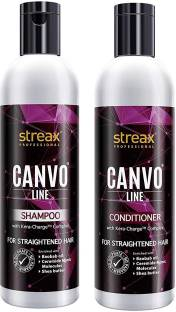Streax Canvo Line Shampoo ( 250ML ) & Conditioner ( 250ML ) For Straightened Hair With KeraCharge™ Complex