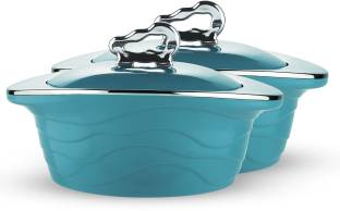 Trueware Zinna Serving Casserole Set of 2 (1000+1000 ml), Blue Stainless Steel Pack of 2 Serve Casserole Set