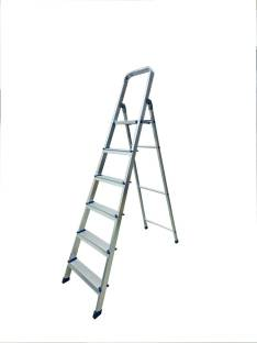TNC Aluminium silver Heavy Duty Folding and adjestable 6 Step ladder Aluminium, Steel Ladder