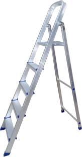 TNC 5 STEP HEAVY DUTY STRONG AND ADJUSTABLE ALUMINIUM STEP LADDER (4 STEP WITH 1 PLATFORM) Aluminium, ...