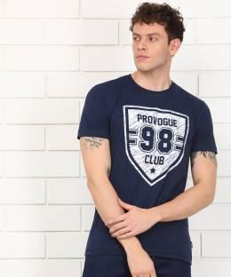 PROVOGUEPrinted Men Round Neck Dark Blue T Shirt